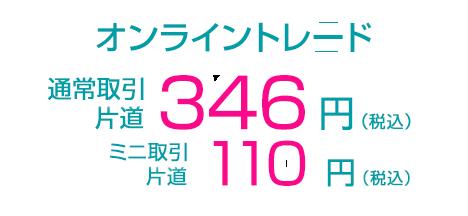 オンライントレード 通常取引 片道346円(税込) ミニ取引110円(税込)